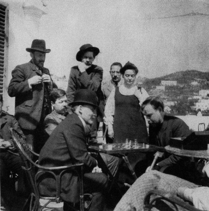 Vladimir Lenin playing chess with A. Bogdanov during his visit to A. Gorky in Capri, Italy in 1908.