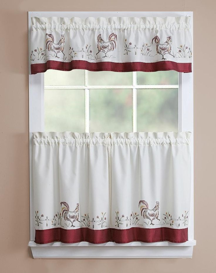 Rooster kitchen curtains rooster emb kitchen curtain 56x12 28x24 kitchen curtains - Country kitchen curtain ...