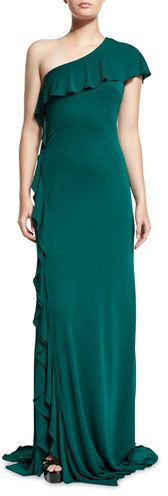 DAVID MEISTER ONE-SHOULDER RUFFLE-TRIM JERSEY GOWN, JADE. WAS $695 NOW $208 by David Meister at Neiman Marcus. CLICK IMAGE TO VIEW OR SHOP.