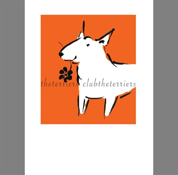Mini Bull Terrier Giclée Print Ink Drawing by TheTerriersClub