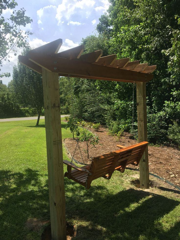 Bench swing on an arbor