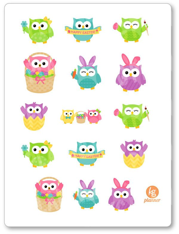 Easter Owl Stickers