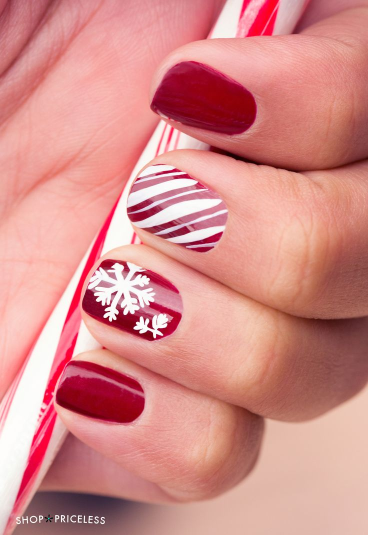 Snowflake & candy cane striped nails for the holidays!