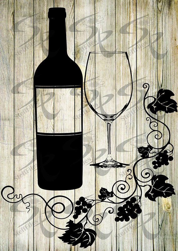 Vector BOTTLE WINE GRAPES glass wine svg,Silhouette,Grapes
