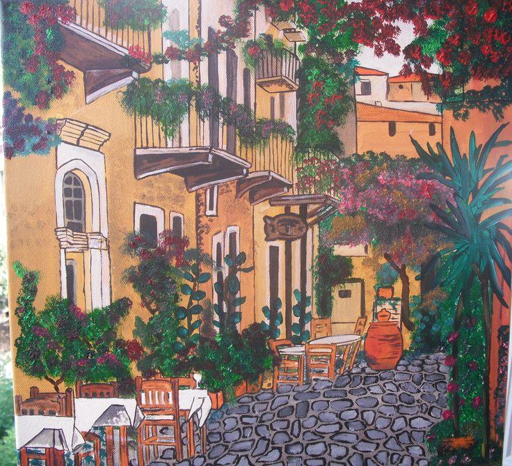 ζωγραφική σε καμβά με ακρυλικό χρώμα