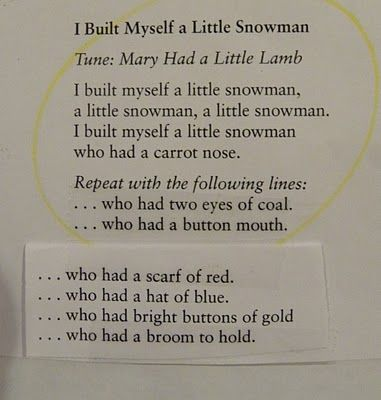 From The Hive: preschool snowmen  Would be a good song for circle! Make the items, pass them out, the children can put their object on the snowman as it comes up in the song!