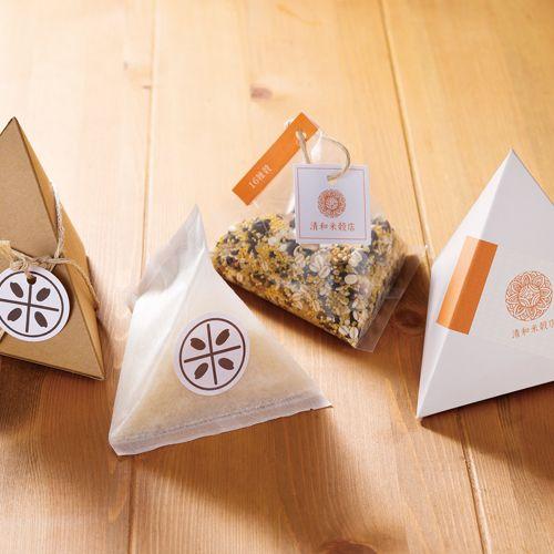 お米のテトラ型パッケージ【ラベルテンプレート】