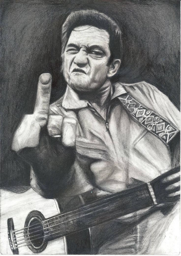 "Johnny Cash man in black ""I DRAW the Line"" middle finger san quentin black and white charcoal drawing poster print fan tribute art by murkyart on Etsy"