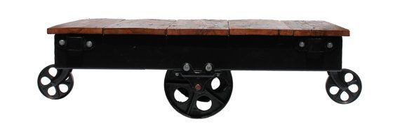 Vintage Railroad Industrial Factory Cart Coffee Table