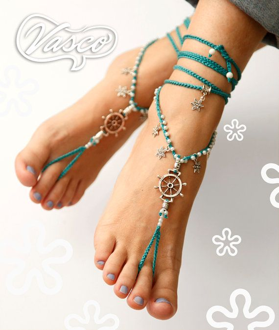 Cute sailor looking barefoot sandals. Etsy listing at https://www.etsy.com/listing/211970117/rudder-barefoot-sandals-turquoise-hippie