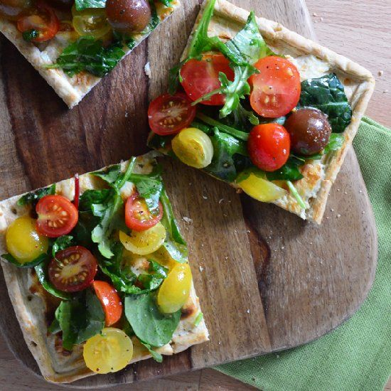 Spinach, Arugula and Cherry Tomato Flatbread | Food, Glorious Food ...
