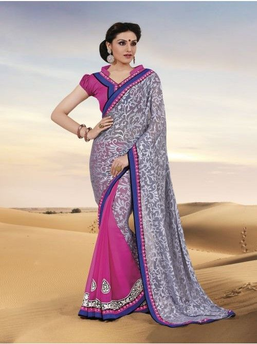 Grey and Pink Chiffon and Brasso Half and Half Saree #Grey #Pink #Chiffon #Halfandhalfsaree #BuySaree #Saree