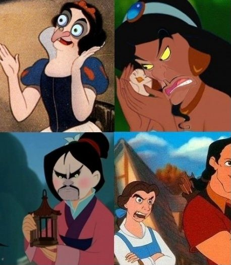 Face swap: Villains on heroines. CAN'T STOP LAUGHING. Mulan is my favorite. // snow white, though...ohhhhhhh my word said the previous pinner. Um... Will someone explain why the beauty and the beast one looks so much like Nicholas cage????