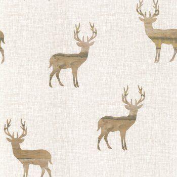 Designer Selection Wooden Stag Wallpaper Cream / Beige
