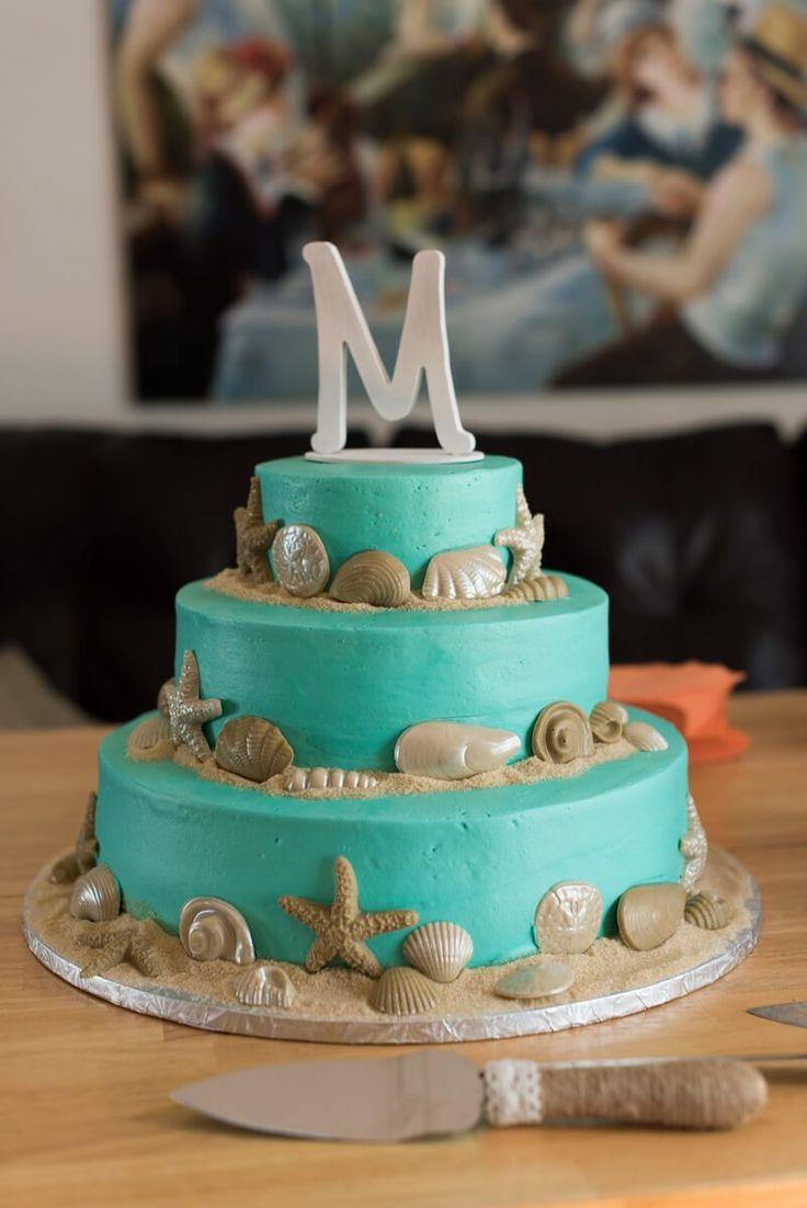 Pink Blue Virginia Beach Wedding - beach wedding cake