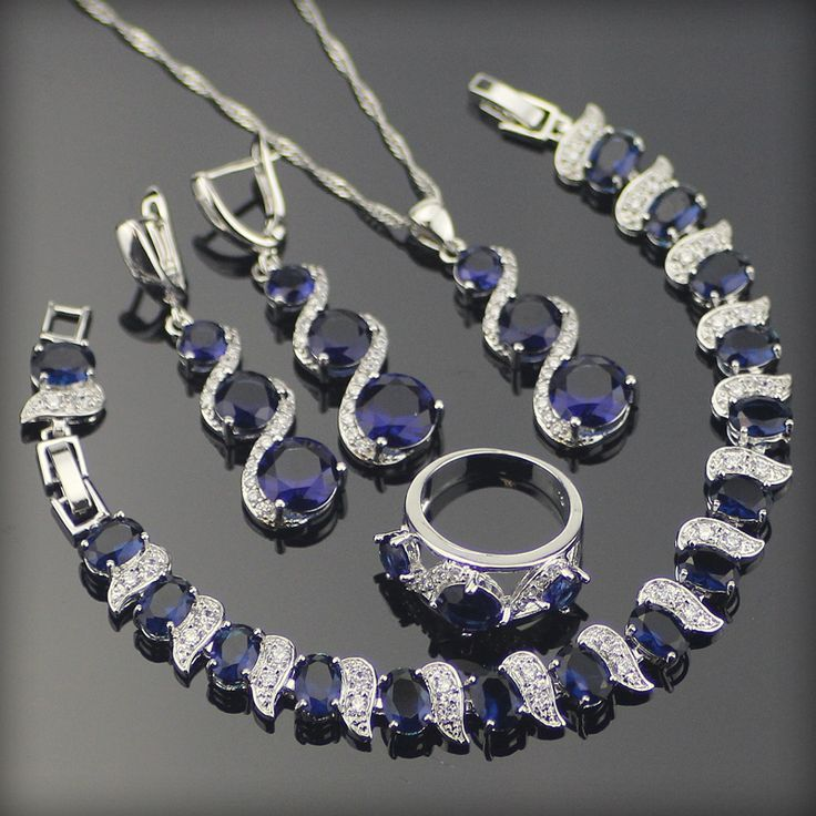 Blue Created Sapphire White Topaz 925 Sterling Silver Jewelry Sets For Women Earrings/Rings/Pendant/Necklace/Bracelets Free Box