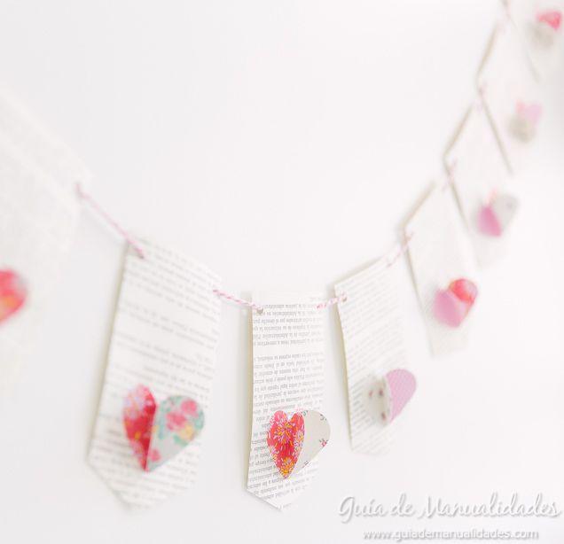 Guirnalda romántica con corazones de papel