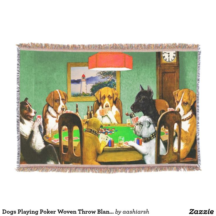 #Dogs #Playing #Poker Woven #Throw #Blanket #cards #doglovers #pets 54 x 38