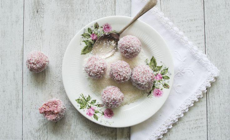 Raspberry coconut bliss balls