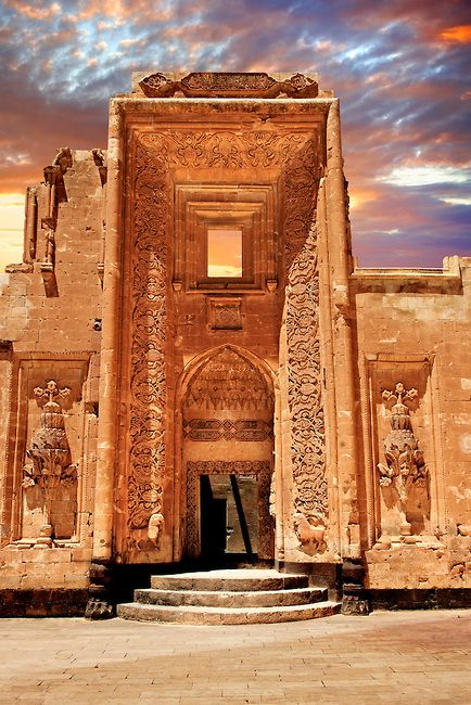 Entrance to the 18th Century Ottoman architecture of the Ishak Pasha Palace (Turkish: İshak Paşa Sarayı) , Ağrı province of eastern Turkey..   Photos Gallery