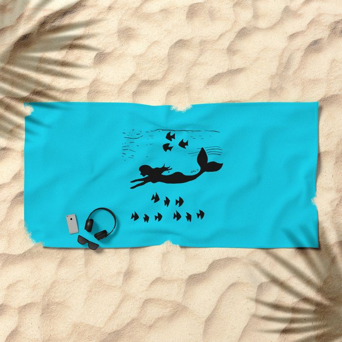 Mermaid Silhouette Art Beach Towel by Artist Abigail at Society6