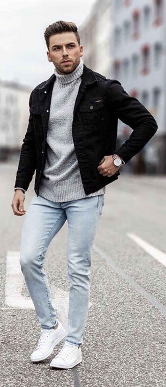 Fall Outfit Inspiration With A Gray Turtleneck Black Trucker