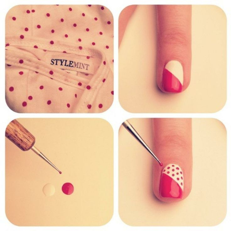 Nice diagonal polka dot nail polish design.