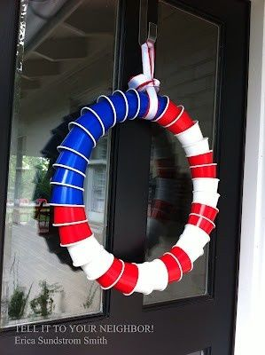 Perfect for 4th on the lake or at the cabin! Gather: 10 blue cups 10 white cups 12 red cups String – about 3 feet (you'll cut off extra) Ribbon for hanging Hot glue gun (optional) Poke …