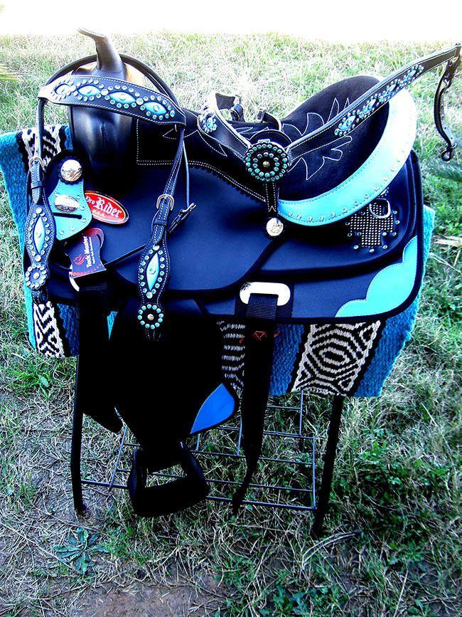 "16"" Western Cordura Trail Barrel Pleasure Horse SADDLE Tack Blue 4918"