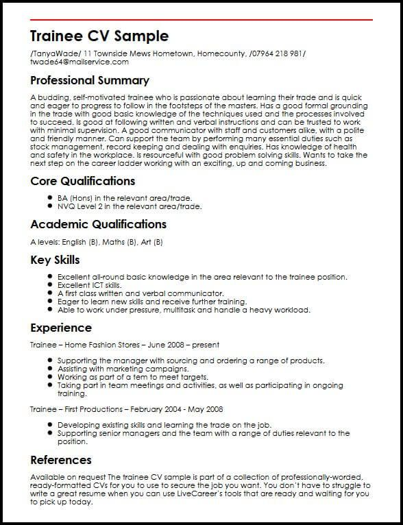 Trainee Cv Sample Myperfectcv Good Cv Best Cv Template Resume Examples