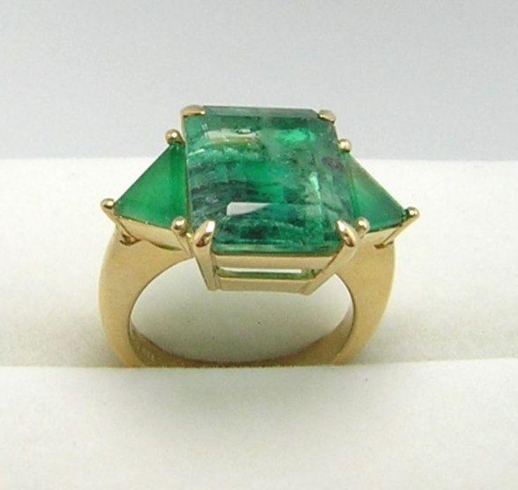 Colombian Emerald Ring Square &Trillion 11.59 Ct  Size 7.5 18K Fine Jewelry Muzo #CeCi #Threestone #Anniversary
