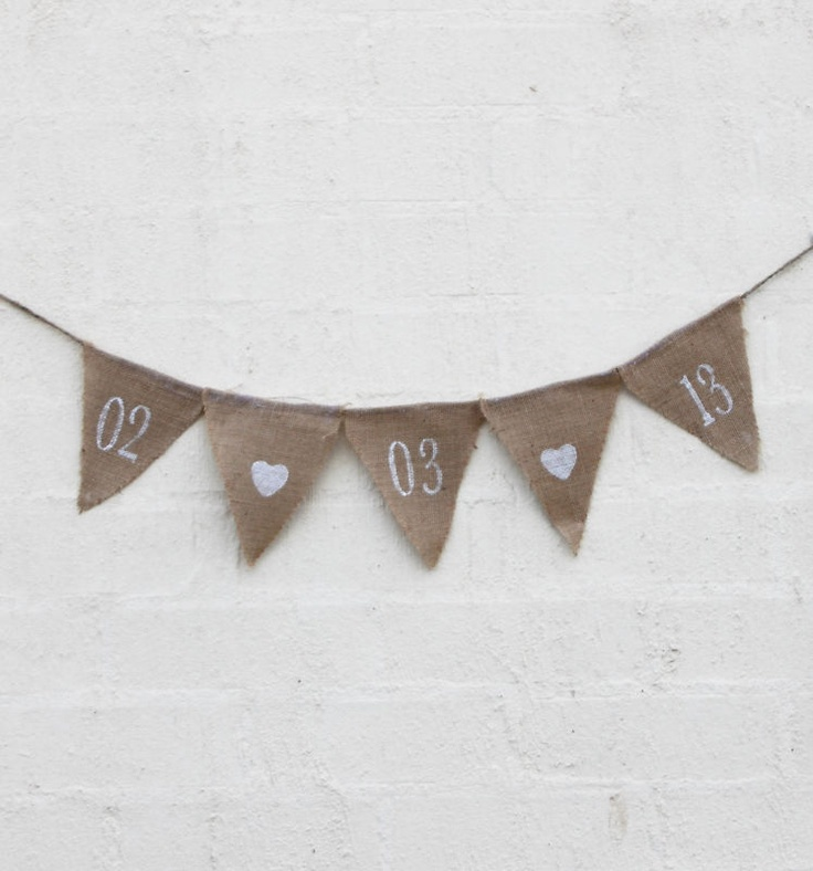 CUSTOM DATE Hessian Wedding Party Banner Pennant Flags Bunting Buntings | eBay