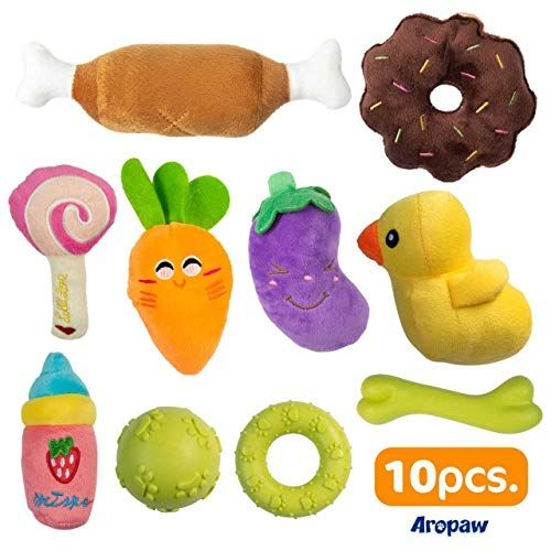Aropaw Dog Chew Toys 10 Pack Plush Squeaky Dog Toys Puppy Chew