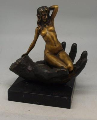 Nude woman kneeling in man's hand.Nude Woman, Man Hands, Woman Kneeling