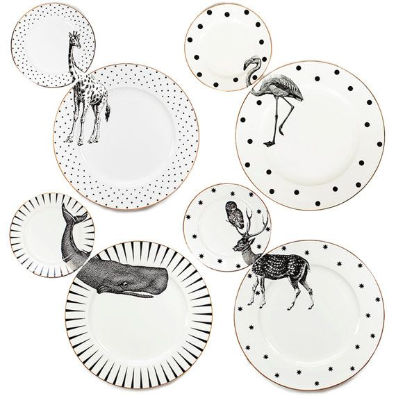 A set of 4 unique matching dinner and side plates with quirky Animal illustrations and gilt gold detailing. Created by Yvonne Ellen, this fun and Mais