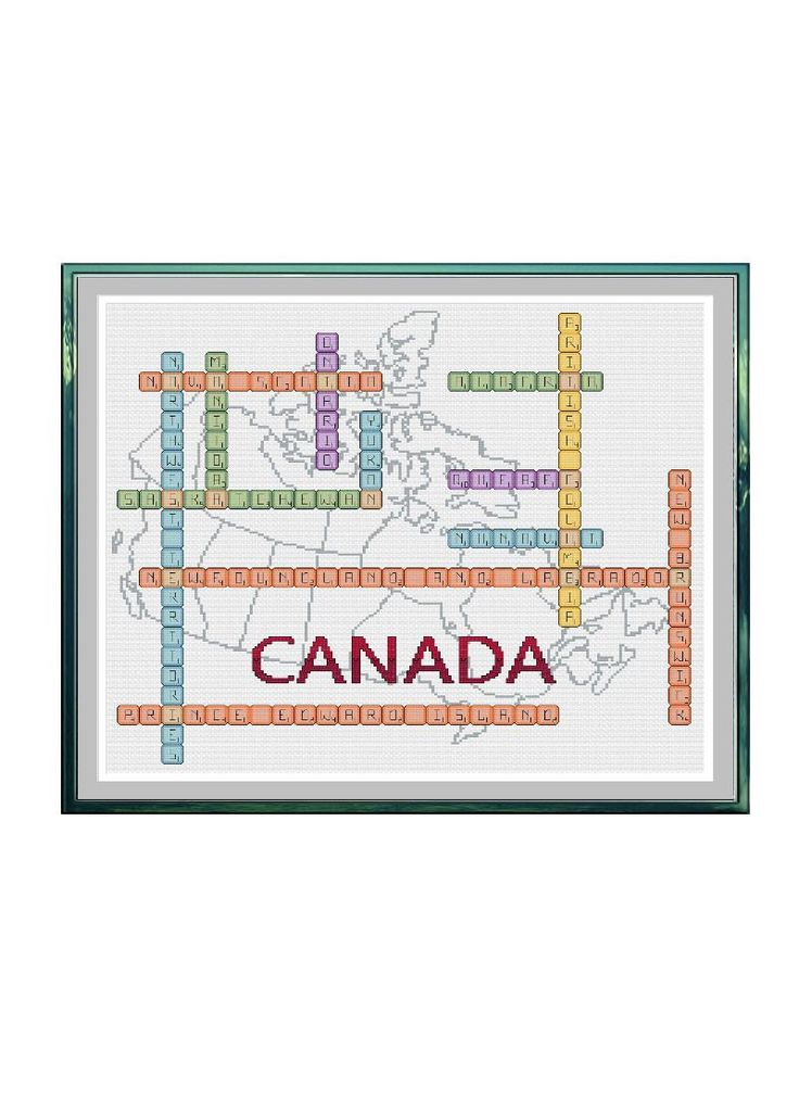 Canada Scrabble Tiles with Map Cross Stitch Pattern by StitcherzStudio on Etsy