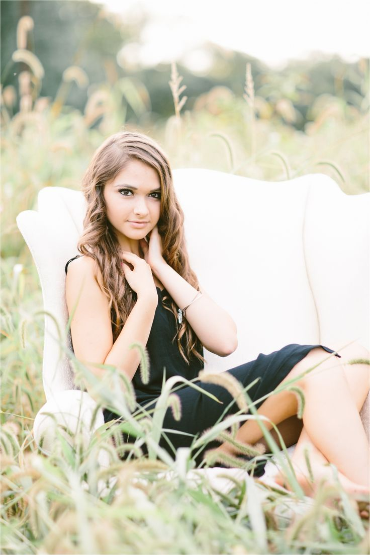 Senior session in a field with upholstered chair