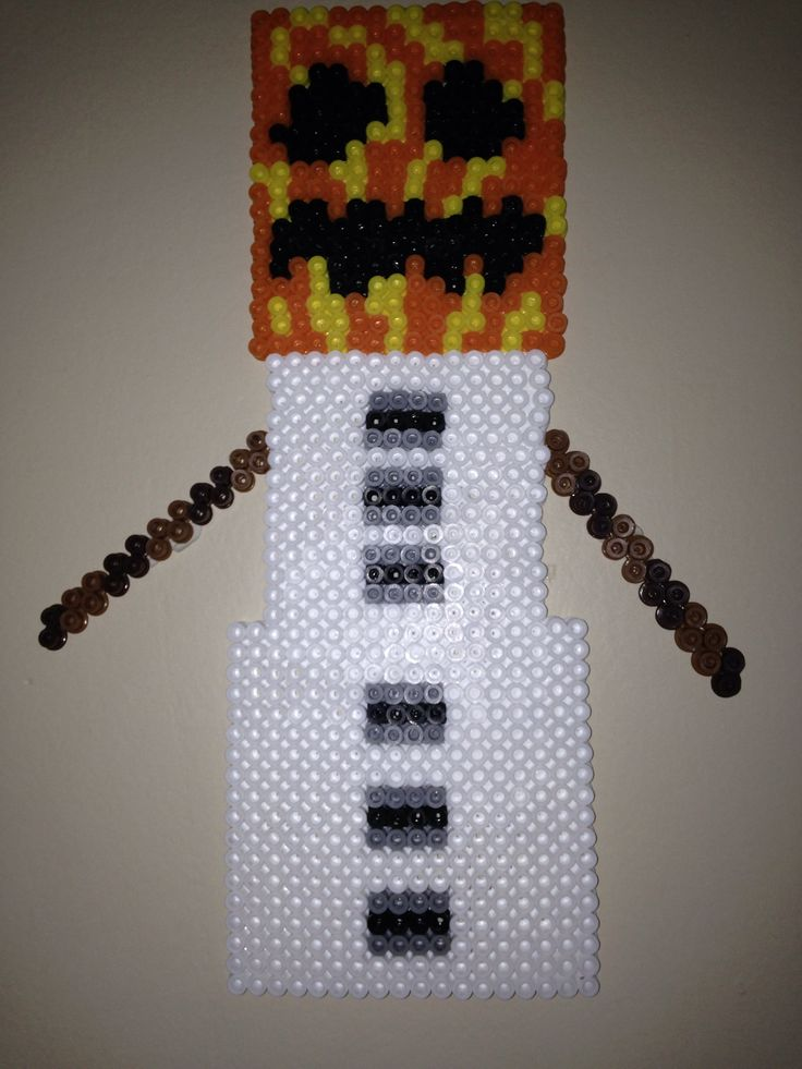 Snow Golem Minecraft Perler Bead My Boy Pinterest