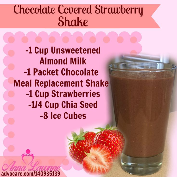 Chocolate Covered Strawberry shake.  You could use a package of Carnation Instant breakfast instead of the meal replacement. Not as much protein,but you could add some hemp hearts to change that...and it would be WAY cheaper. Use frozen strawberries as well, and you could skip the ice cubes......D.