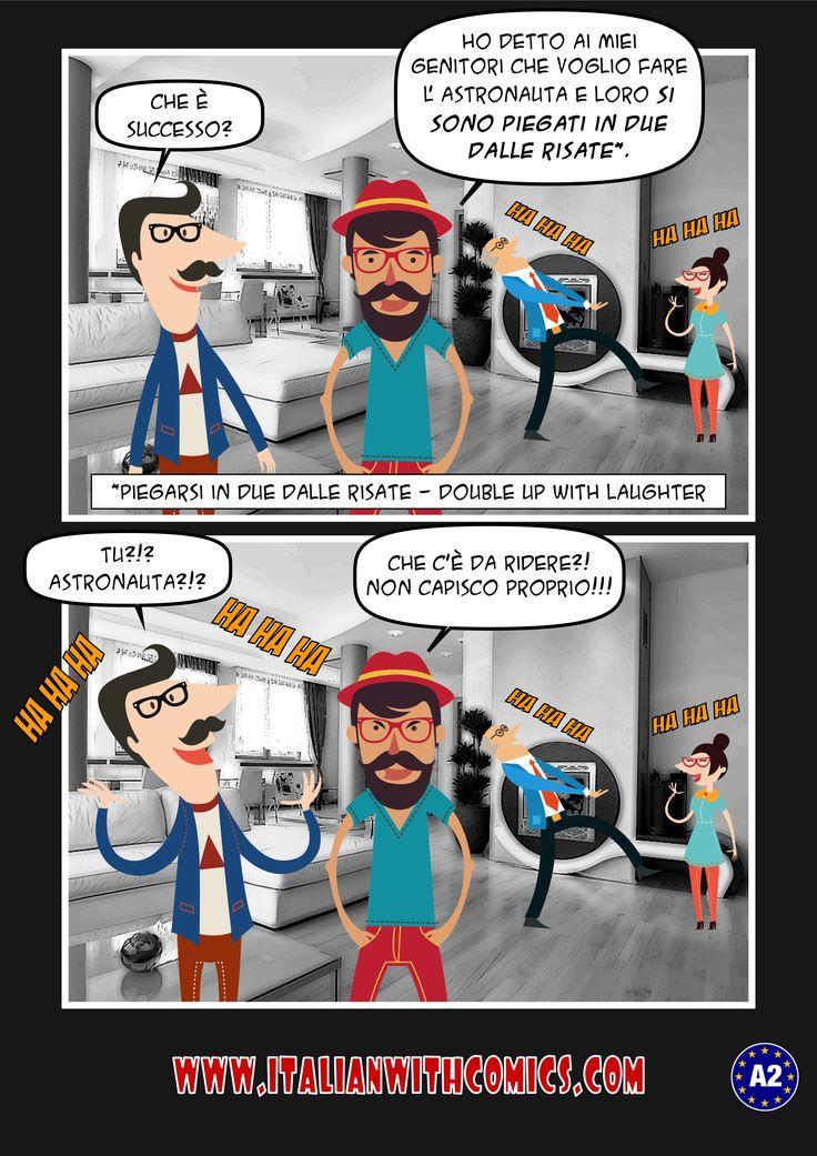 "Idiom of the day: ""Piegarsi in due dalle risate"". http://www.italianwithcomics.com #italianwithcomics #italianidiomcomics"
