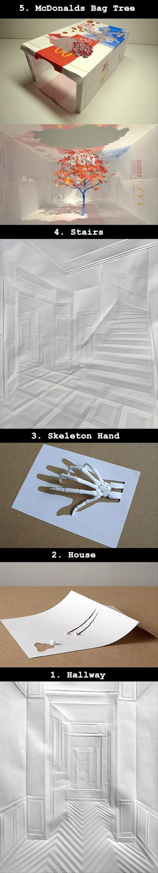 Art made with paper. The way perspective is represented just by folding paper takes my breath away