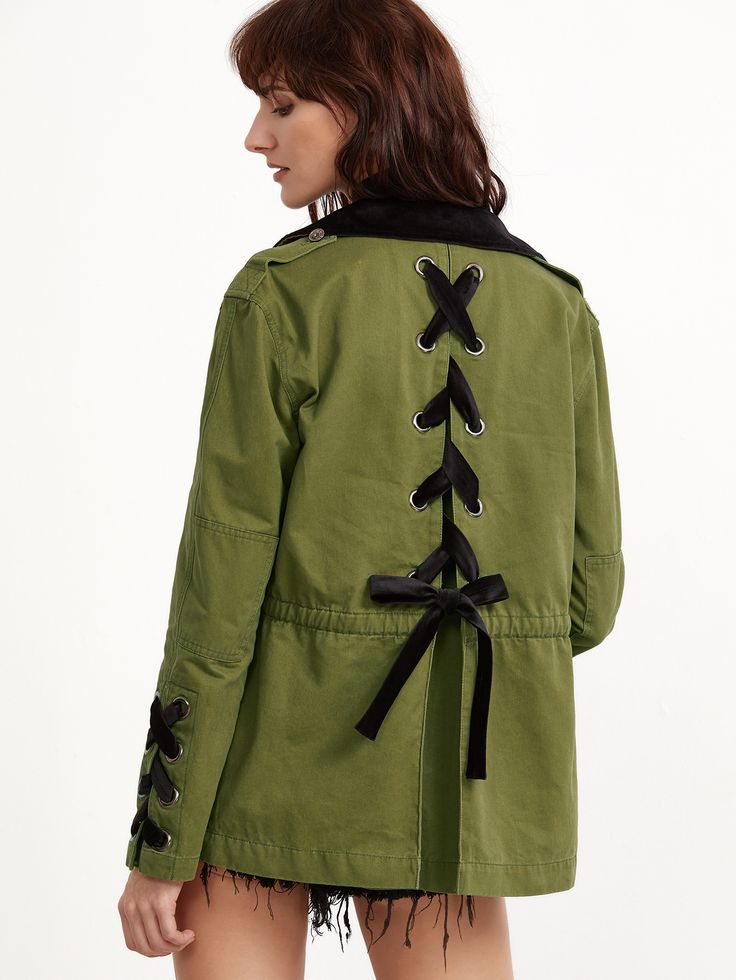 Olive Green Contrast Collar Lace Up Back And Cuff Utility Jacket | MakeMeChic.COM Mobile Site