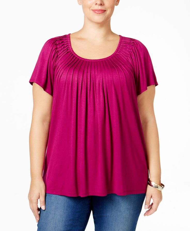 Style&co. Plus Size Short-Sleeve Pleated Top - Style&co. - Plus Sizes - Macy's