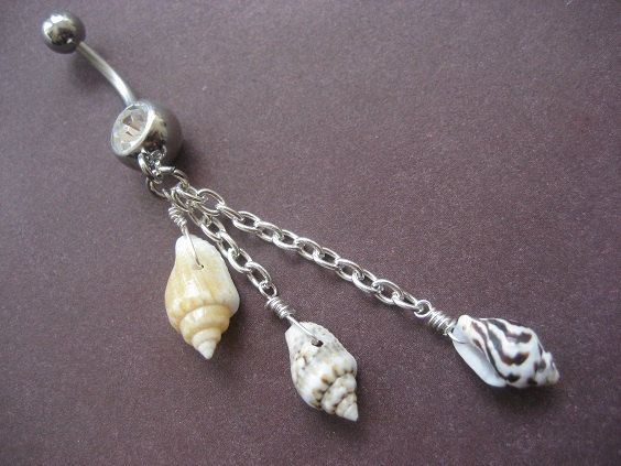 Real Seashell Belly Button Ring Dangly Sea Shell Long Charm Dangle Navel Piercing on Etsy, $16.00