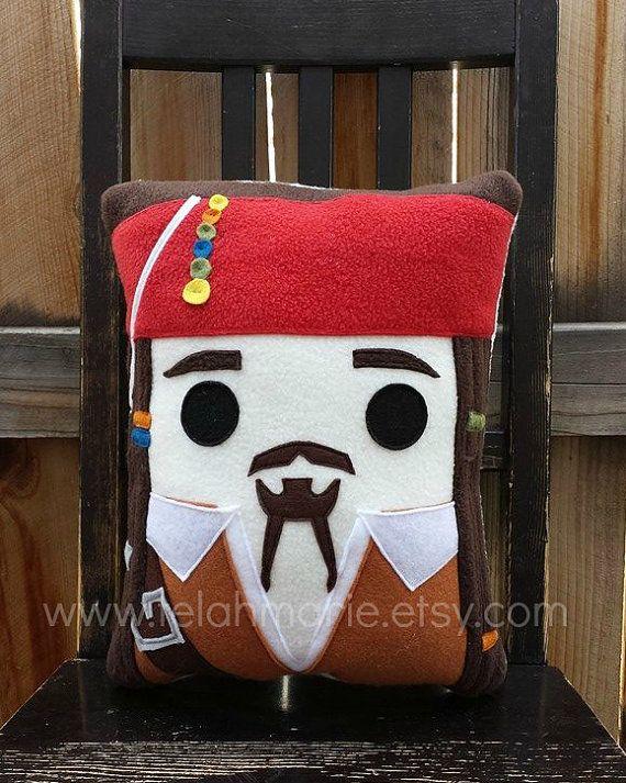Pirate pillow, Captain Jack Sparrow, Pillow, Cushion, Plush, Johnny Depp, Pirate