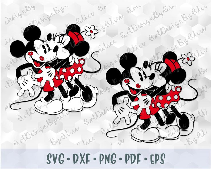 Download SVG PNG Kissing Love Hug Retro Mickey Minnie Mouse Kiss ...