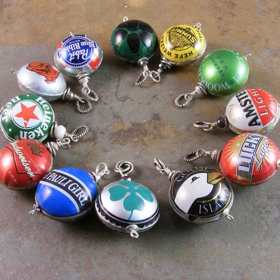Recycled Beer Bottle Cap Jewelry by marciejanedesigns on Etsy, $20.00