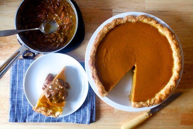 classic pumpkin pie with pecan praline sauce | smitten kitchen