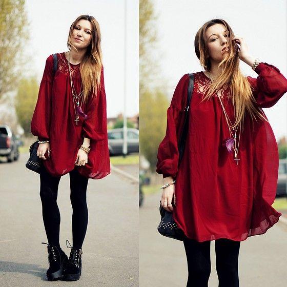Burgundy Loose Dress, Boots