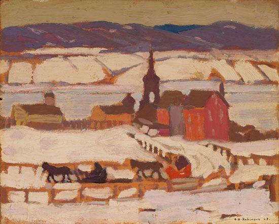 Albert H. Robinson - Winter Evening Bienville PQ 8.5 x 10.625 Oil on board (1923)